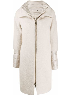 Шерстяное длинное пальто с воротником на молнии Herno