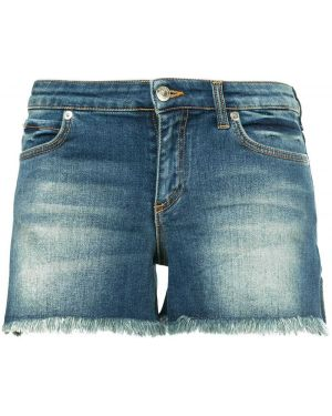 Классические джинсовые шорты с карманами на пуговицах со стразами Versace Collection