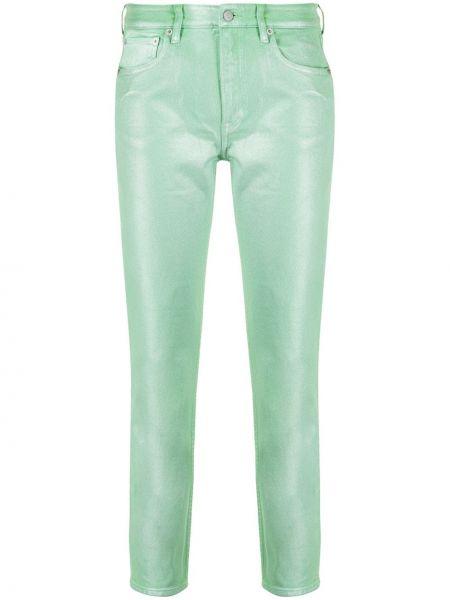 Зеленые хлопковые джинсы на молнии Ralph Lauren Collection