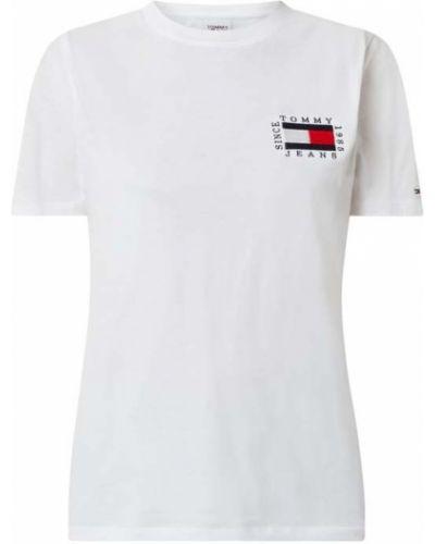 Biały bawełna bawełna koszula jeansowa okrągły dekolt Tommy Jeans