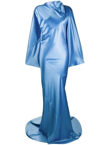 Niebieski bawełna rozbłysnął długo sukienka z draperią Rick Owens