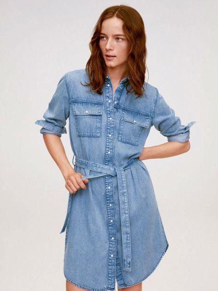 Джинсовое платье синее весеннее Mango