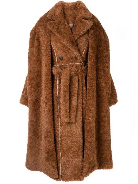 Коричневое пальто с воротником из искусственного меха двубортное Ruban