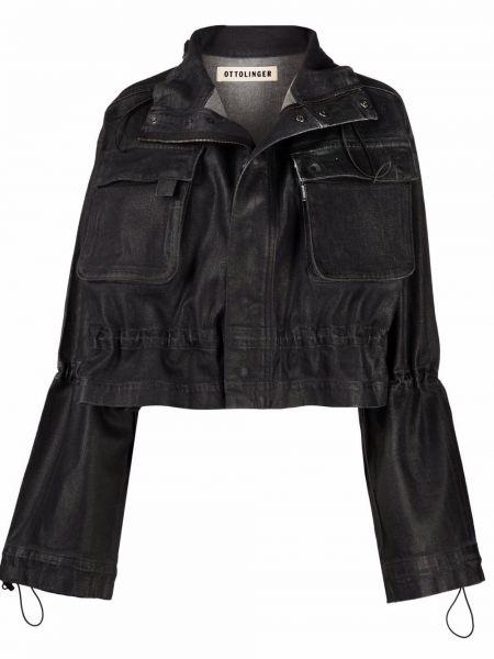 Черная джинсовая куртка на молнии с высоким воротником Ottolinger