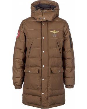 Куртка с капюшоном утепленная зеленая Aeronautica Militare