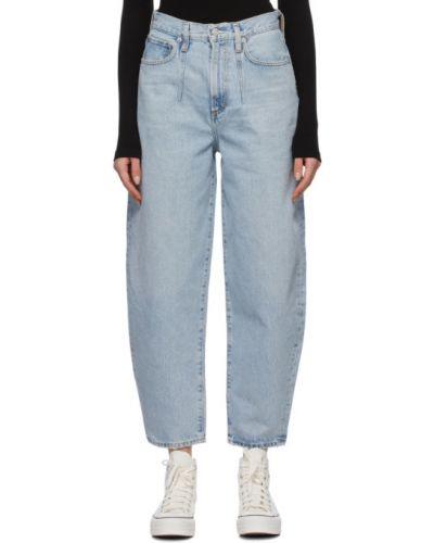 Niebieskie jeansy bawełniane z paskiem Agolde