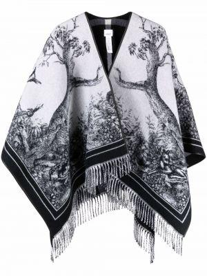 Ponczo wełniany - biały Burberry