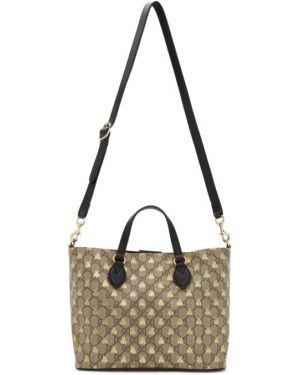 Brezentowy czarny torba na ramię prążkowany z łatami Gucci