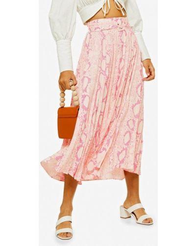 Плиссированная юбка турецкий розовая Topshop