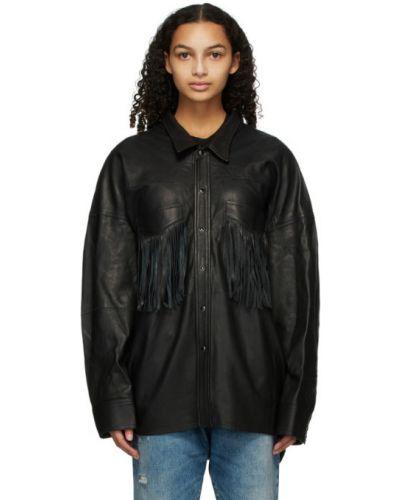 Кожаная черная рубашка с длинными рукавами R13