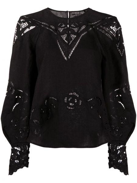 Черная кружевная блузка со вставками Isabel Marant