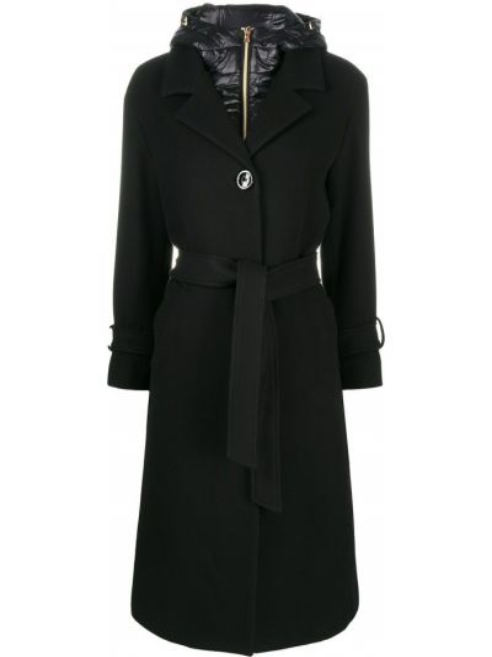Klasyczny czarny płaszcz z kapturem Herno