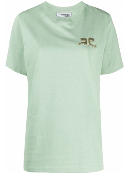 Зеленая хлопковая рубашка с коротким рукавом с короткими рукавами с тиснением Courrèges