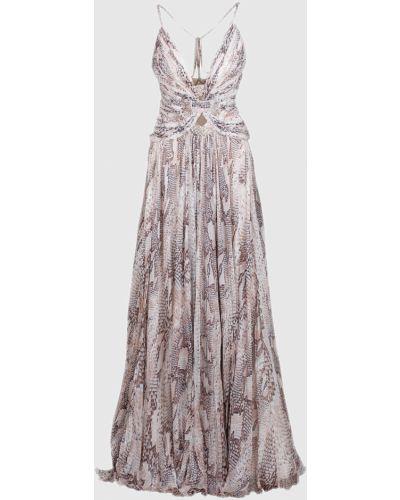 Серое шелковое платье макси Roberto Cavalli