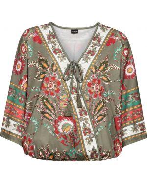 Блузка с длинным рукавом летучая мышь с широкими рукавами Bonprix