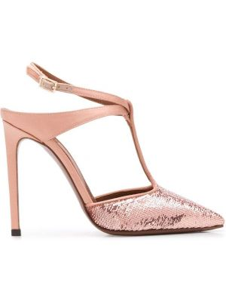 Кожаные розовые туфли-лодочки с пайетками L'autre Chose