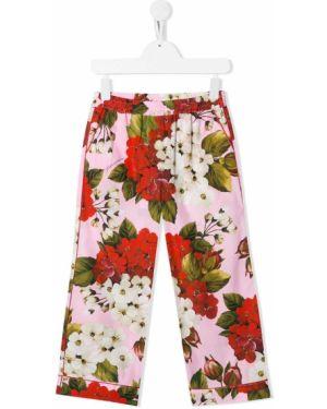 Хлопковые розовые брюки с поясом Dolce & Gabbana