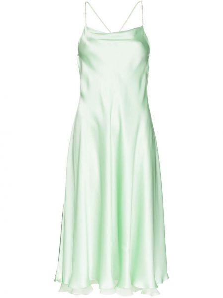 Свободное шелковое вечернее платье с открытой спиной на бретелях Anouki