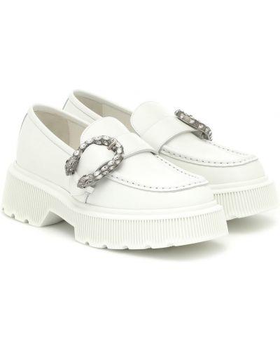 Skórzany biały loafers Gucci