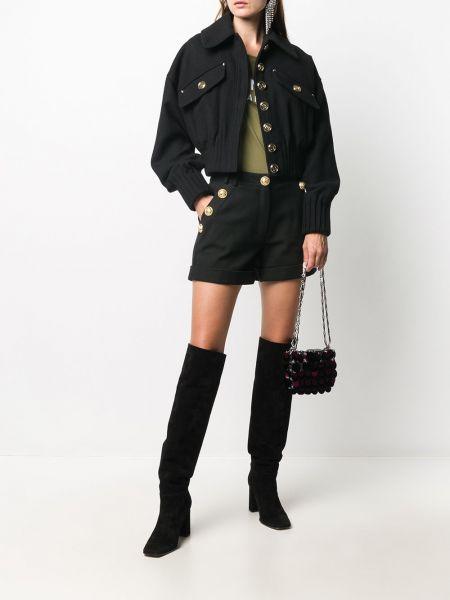 Хлопковая черная короткая куртка с воротником Balmain