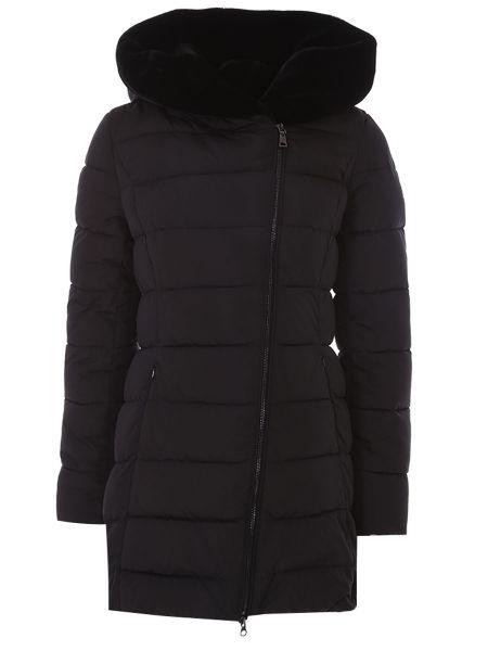 Черная стеганая куртка на молнии с мехом с карманами Cudgi