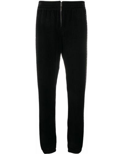 Велюровые черные джоггеры с поясом на молнии Juicy Couture