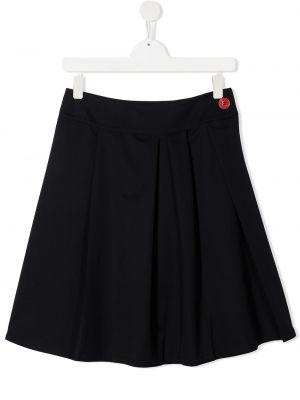 Плиссированная шерстяная темно-синяя плиссированная юбка Marni Kids