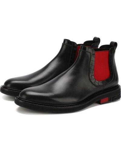 Черные сапоги кожаные Versace