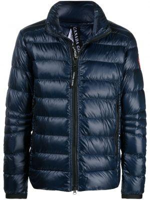 Пуховая синяя куртка с нашивками Canada Goose