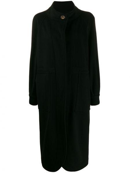 Шерстяное черное длинное пальто с капюшоном Société Anonyme
