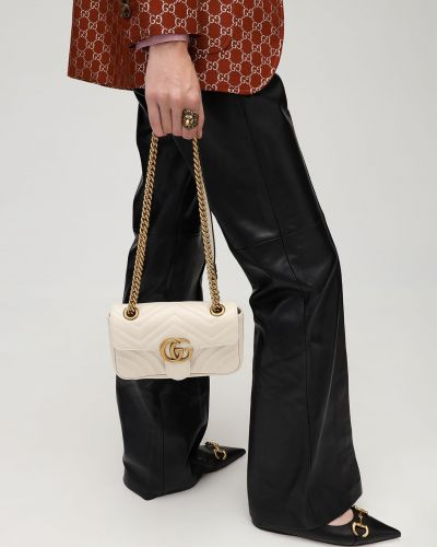 Biały torebka na łańcuszku prążkowany metal Gucci