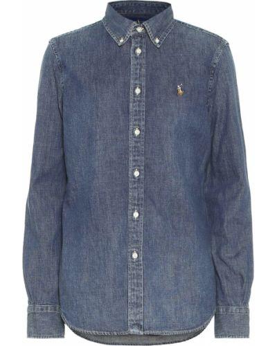 Ватная хлопковая синяя джинсовая рубашка с американской проймой Polo Ralph Lauren
