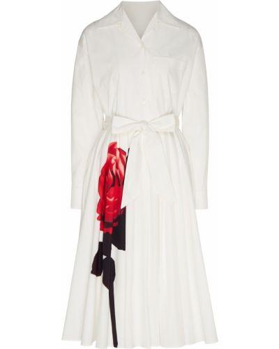 Платье миди с цветочным принтом из поплина Prada