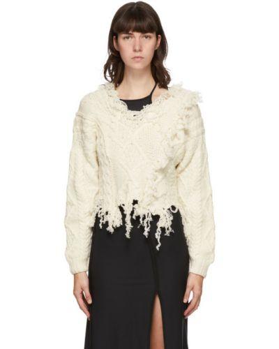 Белый шерстяной свитер с воротником с манжетами Ottolinger
