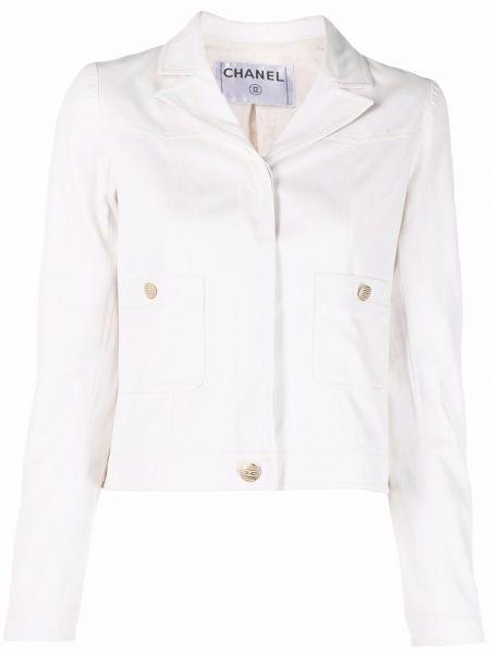 Золотистая белая джинсовая куртка с воротником Chanel Pre-owned