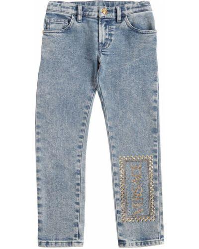 Jeansy na gumce z logo Versace