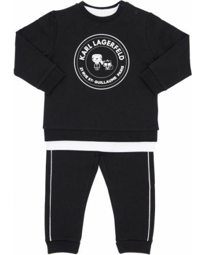 Bawełna czarny spodnie z mankietami z kołnierzem Karl Lagerfeld