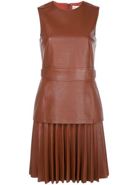 Приталенное кожаное платье без рукавов с вырезом Oscar De La Renta