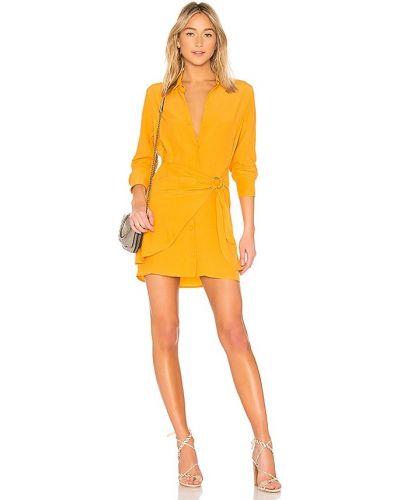 Światło z rękawami żółty dżinsowa sukienka z wiskozy L'academie