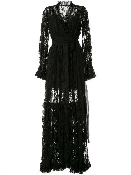Вечернее платье с цветочным принтом с V-образным вырезом Dolce & Gabbana