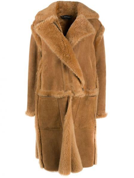 С рукавами однобортное шерстяное длинное пальто Tom Ford