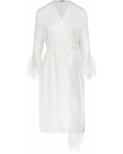 Белое платье миди с декольте с перьями ли-лу