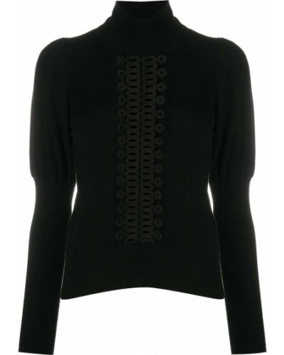 Шерстяной черный джемпер с вышивкой в рубчик See By Chloé