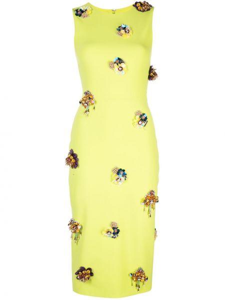 Платье миди без рукавов с вырезом на молнии с аппликациями Christian Siriano