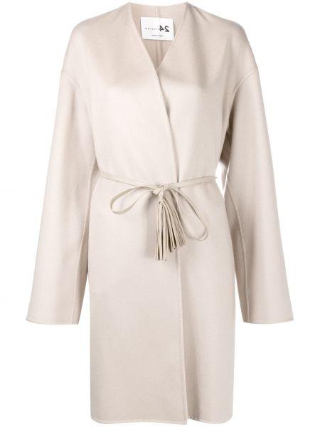 Прямое кашемировое длинное пальто с поясом Manzoni 24