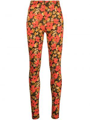 Pomarańczowe legginsy z wysokim stanem w kwiaty Rosetta Getty