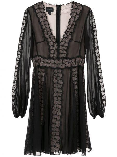 Шелковое черное платье миди прозрачное Giambattista Valli