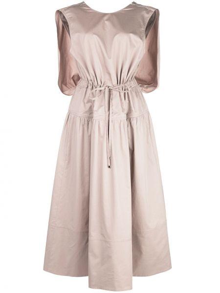 Brązowy bawełna światło sukienka bez rękawów Tibi