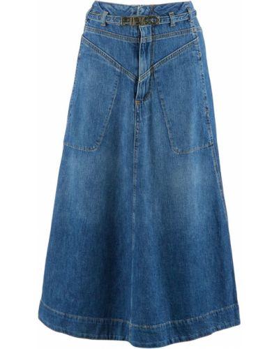 Расклешенная синяя джинсовая юбка Pinko