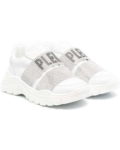 Białe sneakersy skorzane płaska podeszwa Philipp Plein